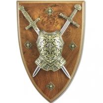 Панно: мини-меч Эскалибр, мини-меч Карла Великого, кираса