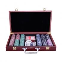 Набор для покера на 300 фишек с номиналом в деревянном кейсе