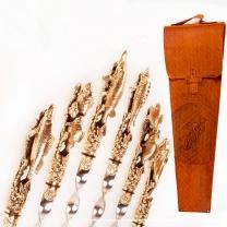 Шампура 6 шт. Рыбалка в кожаном колчане