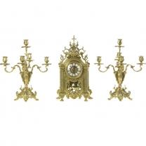Часы каминные Империя с канделябрами на 5 свечей, 3 предм.