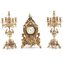 Часы каминные с канделябрами на 5 свечей, 3 предм.