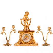 Часы настольные Весна с канделябрами на 2 свечи, набор из 3 предм.