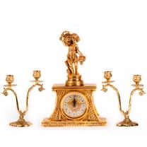 Часы настольные Осень с канделябрами на 2 свечи, набор из 3 предм.