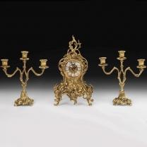 Часы каминные Лоза с канделябрами на 3 свечи, набор из 3 предм.