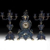 Часы каминные Диковина с канделябрами на 5 свечей, набор из 3 предм.