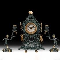 Часы настольные Часовня малые с канделябрами на 1 свечу, набор из 3 предм.