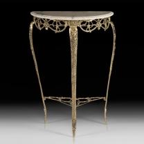Консольный столик Луна в бронзовой оправе с мраморной столешницей