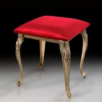 Табурет - пуф в бронзовой оправе с обивкой из красного бархата