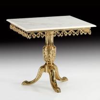 Стол большой квадратный в бронзовой оправе с мраморной столешницей