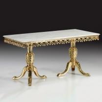 Стол большой обеденный в бронзовой оправе с мраморной столешницей