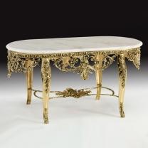 Стол большой овальный Наполеон в бронзовой оправе с мраморной столешницей