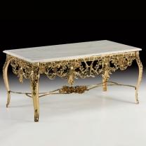 Стол большой Наполеон в бронзовой оправе с мраморной столешницей