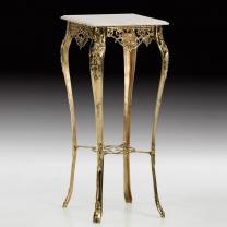 Столик высокий квадратный в бронзовой оправе с мраморной столешницей