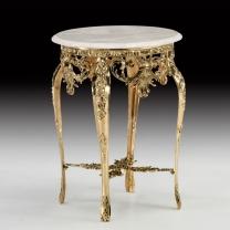 Стол Наполеон круглый в бронзовой оправе с мраморной столешницей