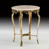 Стол круглый в бронзовой оправе с мраморной столешницей