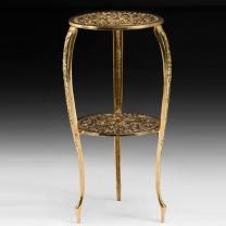 Столик высокий круглый из бронзы с двумя полочками