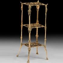 Столик высокий квадратный из бронзы с тремя полочками