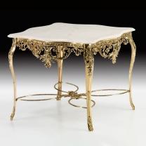 Стол обеденный квадратный в бронзовой оправе с мраморной столешницей