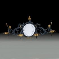 Вешалка настенная из бронзы на 4 крючка с зеркалом