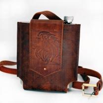 Фляжка в кожаной сумке Лев 0,5л.