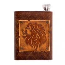 Фляжка в кожаном чехле Lion 0,25л. (коричн.)