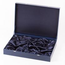 Подарочный футляр на 6 подстаканников с ложками (синий)